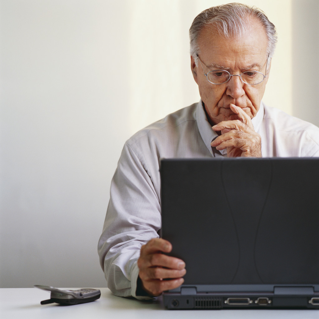 Old man at laptop
