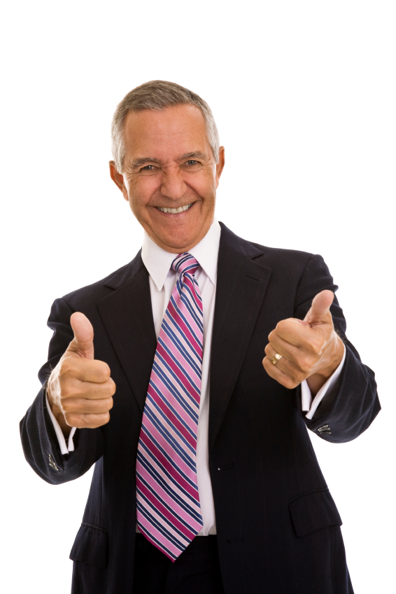 Senior businessman holding two thumbs up in agreement, isolated on white background