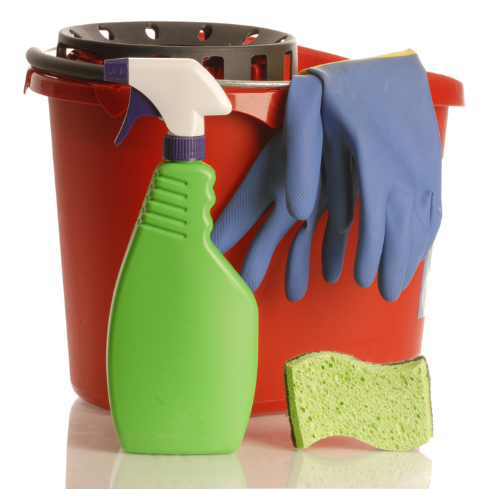 household cleaner with rubber gloves bucket and sponge..