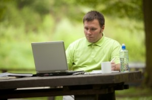 Combine enjoying the outdoors with job searching.
